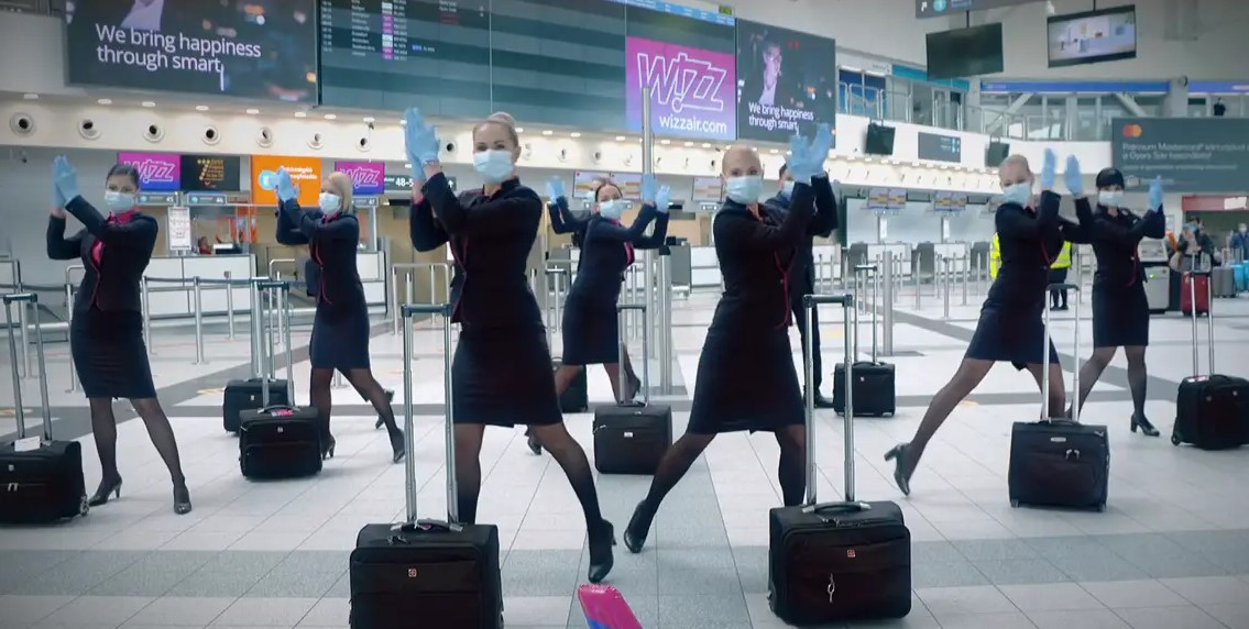 WizzAir team celebrated anniversary with a Covid-19 style dance video